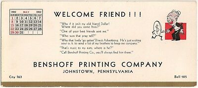 Benshoff Printing Company in Johnstown PA Advertising Blotter May 1932