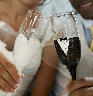 Set Of 2 Handpainted Personalised Champagne Flutes Wedding Toasting Gift