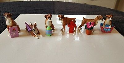 Danbury Mint Lot of 6 Boxer Dog Figurines Spring Themed