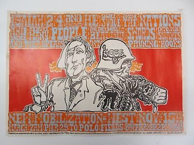 VINTAGE NEW MOBILIZATION WEST VIETNAM WAR PROTEST MARCH POSTER by WES WILSON