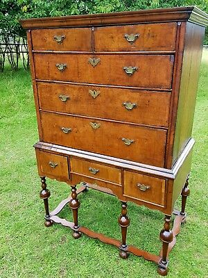 Antique Early 18th Century Queen Anne Walnut Chest On Stand