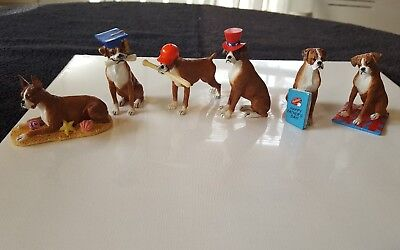 Danbury Mint Lot of 6 Boxer Dog Figurines Summer Themed