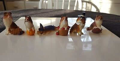 Danbury Mint Lot of 6 Lassie / Collie Dog Figurines Autumn/ Fall Themed