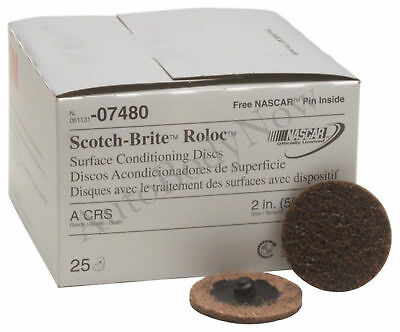 "3M 07480 Scotch-Brite Roloc Surface Conditioning Disc 2"" Brown Coarse, 25-Pack"
