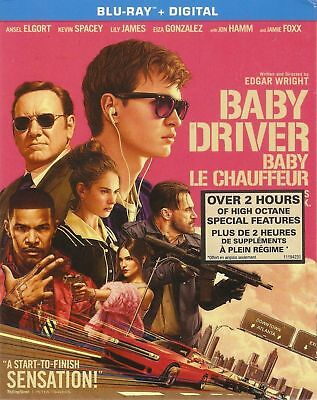 Baby Driver ~ Blu-ray +Digital ~ New w/ SlipCover 2017 ~ Ansel Elgort ~ShipsFast