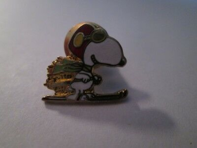 Aviva Cloisonne Snoopy Flying Ace On Skis Tac Pin New, Mint!
