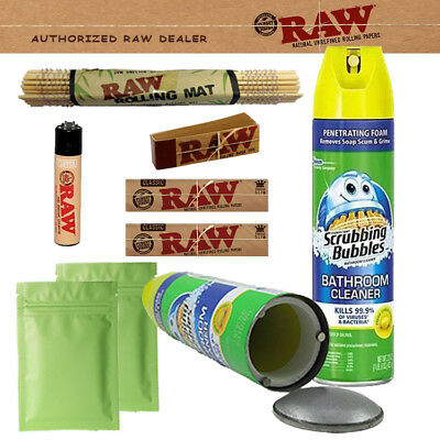 Authentic Raw Paper King Size Combo Stash Can+Smell Proof Bags+Tips+Lighter+Mat