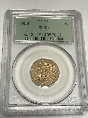 1909 $5 Gold Indian XF45 PCGS Nice!