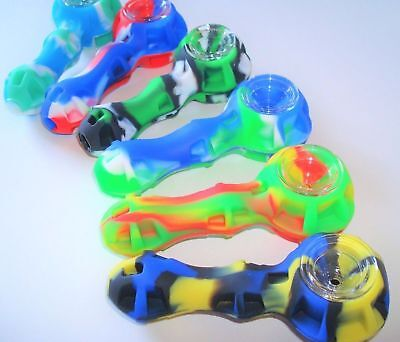 "4"" Silicone Tobacco Pipe W/ Glass Slide Bowl +Stash Container, Buy 2 Get 1 Free"