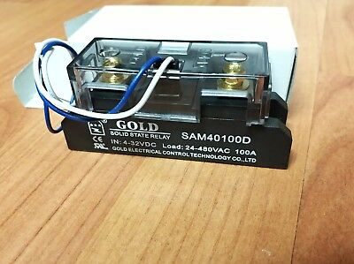 Solid State Relay UL 4-32VDC-in, 40-480VAC-out, 100Amps! (Pt# SAM40100D)