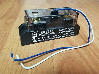 Solid State Relay UL 4-32VDC-in, 40-480VAC-out, 120Amps! (Pt# SAM40120D-R)