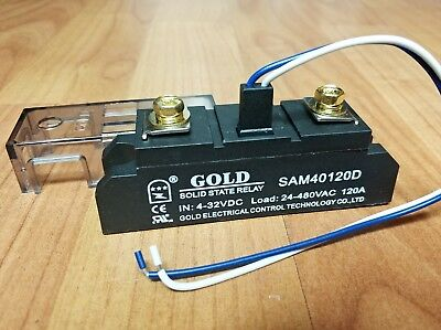 Solid State Relay UL 4-32VDC-in, 40-480VAC-out, 120Amps! (Pt# SAM40120D)