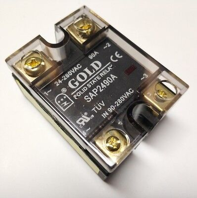 UL Solid State Relay, 90-280VAC-in, 24-280VAC-out, 90Amp (SAP2490A)