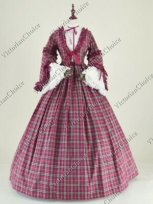 Victorian Maid Dickens Christmas Plaid Prairie Vintage Pioneer Theater Dress 158