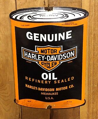 "Vintage Harley Davidson Genuine Motor Oil 11"" X 8"" Porcelain Motorcycle Sign Nr!"