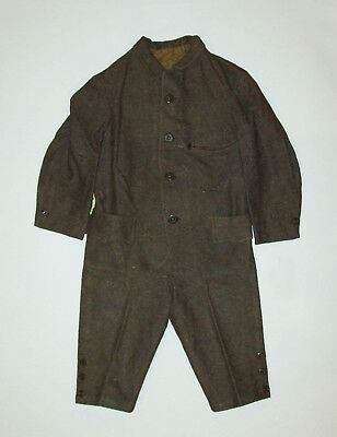 Antique Vtg 1870s Boys Two Piece Victorian Wool Suit Belted Back Jacket Knickers