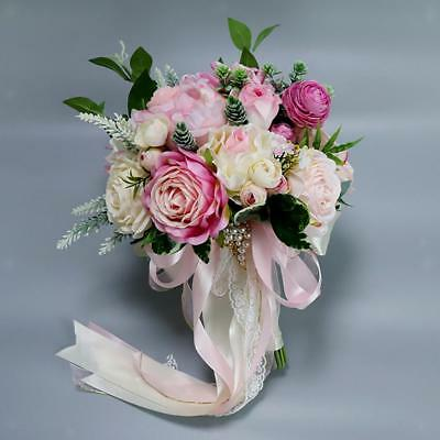 Artificial Peony Roses Leaves Silk Bridal Wedding Party Flower Bouquet Craft
