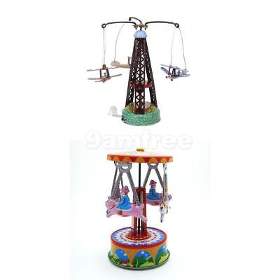 2X Wind Up Toy Carousel Colockwork Tinplate Toys Collectible Christmas Present