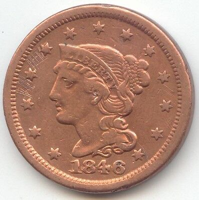 1846 Braided Hair Large Cent, Repunched Date, 1846/1846, VF Detail, True Auction