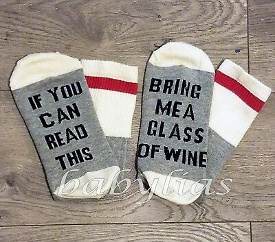 If You Can Read This Bring Me A Glass Of Wine Socks Embroidered Cotton Men Women