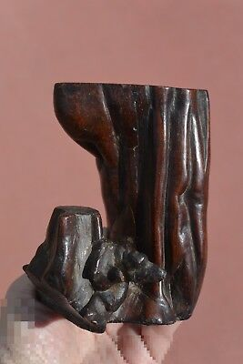 19C Chinese Hardwood Wood Carved Carving Scholar Tree Trunk Brush Holder Pot