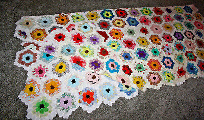 """Vtg Grandmothers Garden 90""""x80"""" Quilt top Hand Pieced/Stitched Feed Sack Cutter?"""