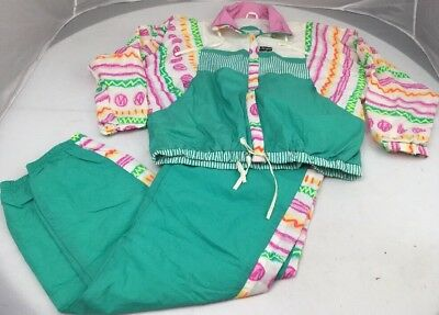 Vtg 80s SERGIO Retro LOUD 2pc NEON KELLY GREEN Zip Walking Jump Track Suit L