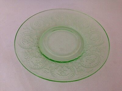 "Depression Glass Indiana ""Horseshoe"" #612 Uranium Green 6"" Saucer"