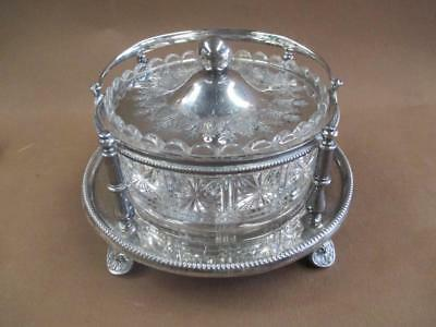 Walker & Hall, silver plate, pressed glass, sweets dish or server, antique