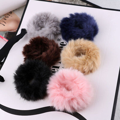 Hot Woman Fluffy Faux Fur Scrunchie Elastic Hair Ring Soft Rope Hair Accessories