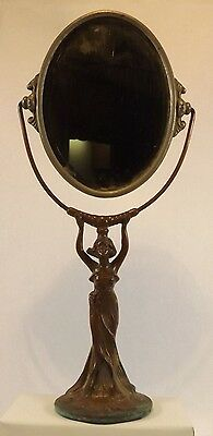 "Antique Vintage Art Nouveau Woman Copper? Swivel Vanity Dresser Mirror 17"" Tall"