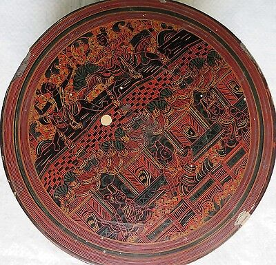 "Antique BURMESE LACQUER BEETLE NUT BOX RARE WHIMSICAL SCENE LEGENDARY 7""x 4"""