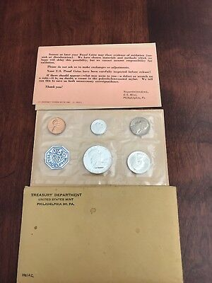 1961 Proof Set Original Envelope 90% Silver Franklin Washington US Mint 5 Coin