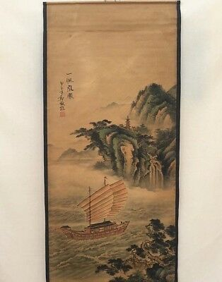 Collectible Old superb China long Scroll Painting plain sailing landscape ship