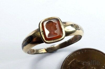 Antique Georgian Gold Cased Roman ? Intaglio Seal Signet Ring