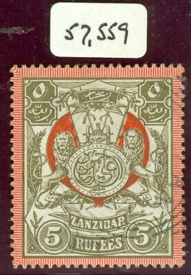 SG 224 Zanzibar 1904 5r olive brown & red. Very fine used 1906 squared circle...