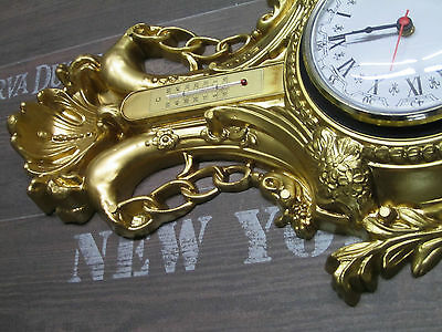 Wall Clock SWAN GOLD WITH THERMOMETER ANTIQUE LOOK 38x65cm Baroque Quartz Watch