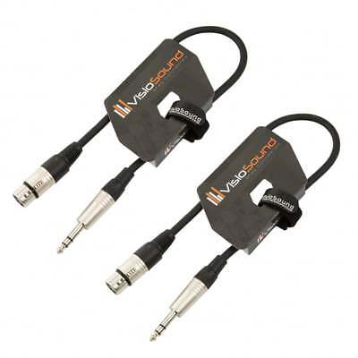 2 x Female XLR to 6.35mm Stereo Jack Lead / Balanced Signal Patch Cable / 2 Pack