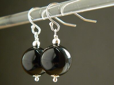 Large Black Onyx Gemstones & 925 Sterling Silver Drop Elegant Handmade Earrings