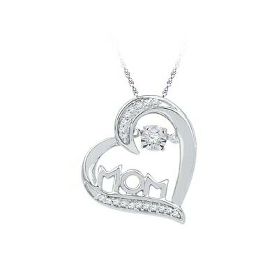 0.10 Cttw Real Diamond Heart Mom Pendant w/Chain 14k Gold Over Sterling Silver