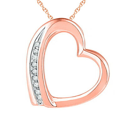 Real Diamond April Birthstone Heart Pendant 14K Rose Gold Plated Sterling Silver