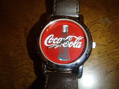 Coca Cola RED FACE Watch Brown Leather Coca-cola band 2003 NEW BATTERY RUNS