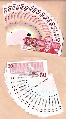 17 Sequential Serial# 1988 $50 Bank of Canada Bird Series Notes. BC-59b. GEM UNC