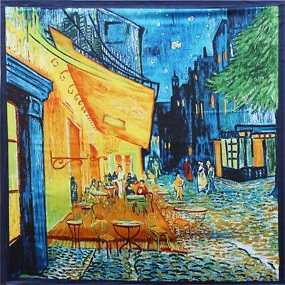 Women's Van Gogh Oil Paintings Printed Silk-Satin Square Scarf Shawl Wrap Gift