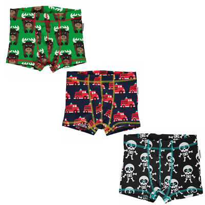 Maxomorra organic childrens boxer shorts | Christmas moose | 2 3 4 5 6 7 8 9 10