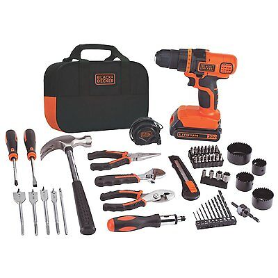 Cordless Drill Tool Kit 66 Hand Tools and Accesories Combo Bag Bundle