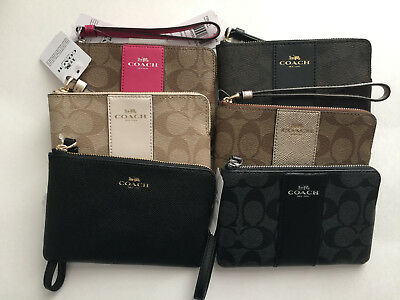 NEW Coach CORNER ZIP WRISTLET IN SIGNATURE COATED CANVAS WITH LEATHER F58035