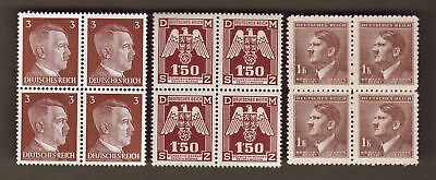 Nazi Germany Post Third 3rd Reich WW2 + B+M Eagle + Hitler stamp blocks 1.5K