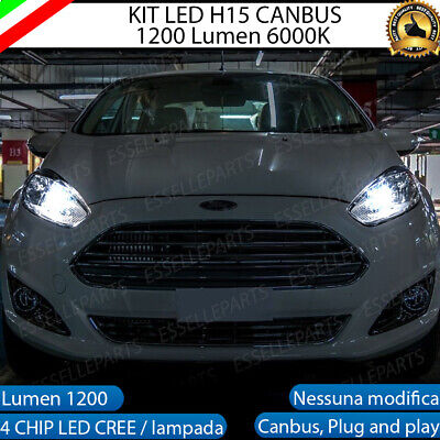 Coppia Lampade H15 Led Ford Fiesta Vii 7 Restyling Xenon Cree Cob 6000K Canbus