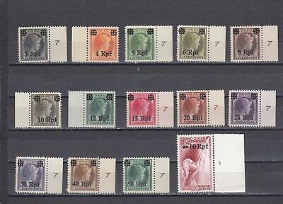 a134 - LUXEMBOURG - SG413-426 MNH 1940 SHORT SET TO 60pf - SURCH IN pf